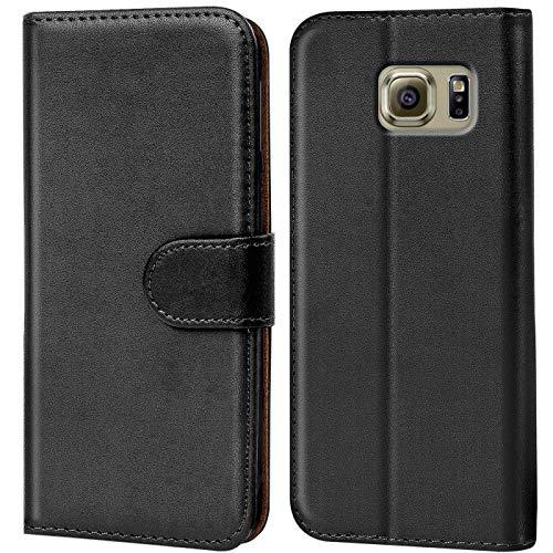 Conie Handyhülle für Samsung Galaxy S6 Edge+ Plus Hülle, Premium PU Leder Flip Case Booklet Cover Weiches Innenfutter für Galaxy S6 Edge+ Plus Tasche, Schwarz