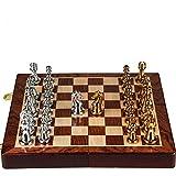 Yuefensu Adultos niños Juegos de ajedrez con el Metal de Bronce de ajedrez Plegable Junta Piezas for la Competencia de Atracciones Gioco di scacchiera (Color : Metallic, Size : 30x30x3cm)