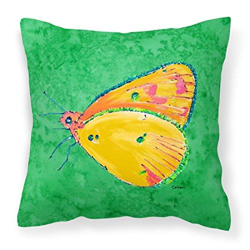 Farfalla arancione su verde tessuto decorativo Cuscino