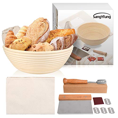 10 Inch Bread proofing Basket,Bakers Dough Couche (30'x18'),Banneton Proofing Basket+Dough Scraper+Bread Lame,Bread Baking Kit,100% Flax Linen Proofing Cloth for Baking French Bread。