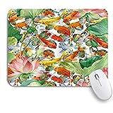 YZBEDSET ゲーミング マウスパッド,中国の庭の池で蓮の花とアジアの水彩鯉鯉,マウスパッド レーザー&光学マウス対応 マウスパッド おしゃれ ゲームおよびオフィス用 滑り止め 防水 PC ラップトップ