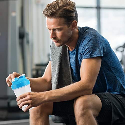 Botella de batido, hervidor deportivo de plástico fácil de limpiar, taza de agua para ejercicios, botella deportiva portátil para deportes al aire libre, para fitness, para gimnasio(blue)