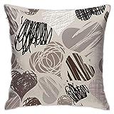 Hangdachang - Fundas de almohada personalizadas de flores de cerezo de lujo, fundas de almohada para ropa de cama, salón, sofá, 18 x 18 pulgadas, New Grey Hearts