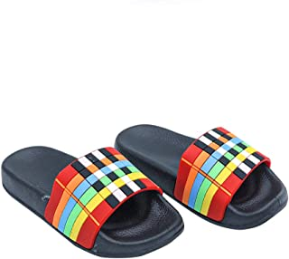 Hopscotch FEETWELL Shoes Boys and Girls Rubber Printed Flip Flop in Black Color