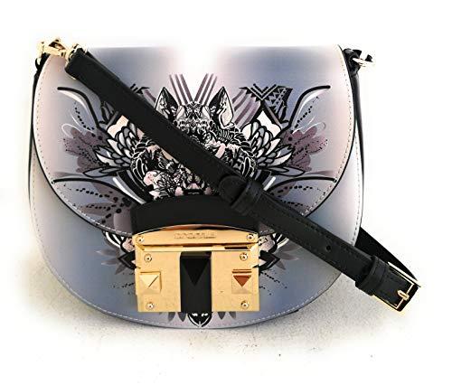 Cromia Damen-Handtasche Leder Flap Cross Body Lavendel Linie IT Wolf 1403886G Maße: 20 x 17 x 8,5 cm.