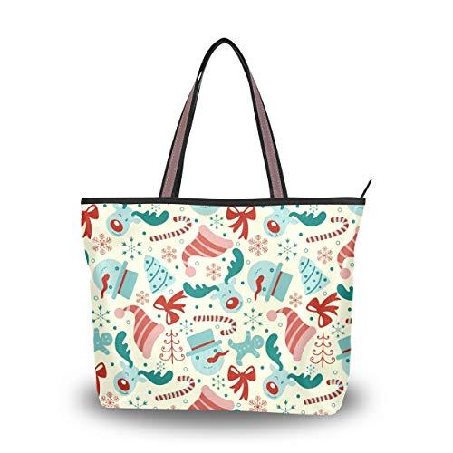 Eslifey Damen Handtasche mit Schneemann und Hirschmotiv Gr. 38, multi