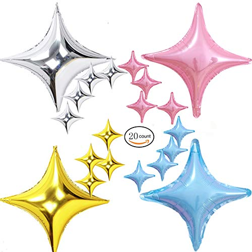 ZEKUI 20pcs Star Shape Foil Float Balloons Reusable Balloon 24''&10'' Pink Blue Silver Gold Mylar Helium Balloons for Wedding,Birthday,Baby/Bridal Shower,Anniversary,Graduation Party