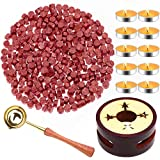Red Wax for Letters Stamp Seals, Paxcoo 312pcs Stamp Wax Kit with Red Wax Seal Beads, Wax Seal Warmer, Wax Spoon and Tealight Candles for Wax Envelopes Mail and Wedding Invitations