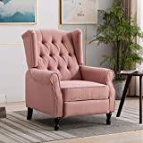 Artechworks Tufted Fabric Push Back Arm Chair Recliner Single Reclining Fabric for Adjustable Club Chair Home Theater Padded Seating Living Room Lounge Modern Sofa, Pink