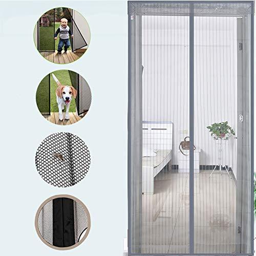 WYMNAME Magnetische fliegengitter tür Mit heavy-duty mesh vorhang, Full frame magische band mesh vorhang Für haustür und zuhause außerhalb kinder Haustiere-Grau 100x220cm(39x87inch)