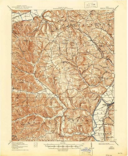 YellowMaps Piketon OH topo map, 1:62500 Scale, 15 X 15 Minute, Historical, 1917, Updated 1946, 20.7 x 17 in - Tyvek