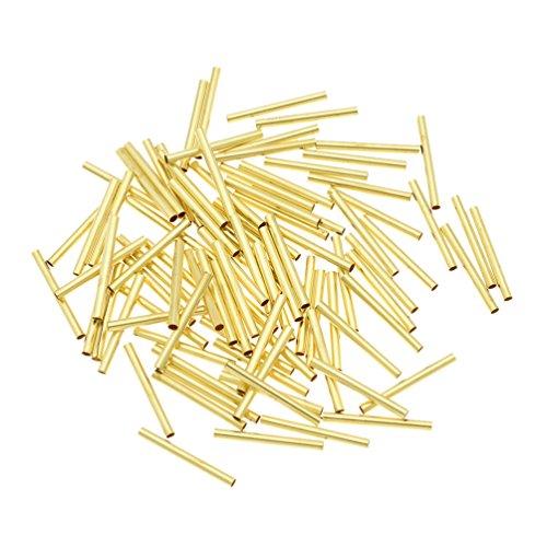 Kesheng 100x Messingrohr Rundrohr Golden Durchm.2mm Länge 1cm 1.5cm 2cm 2.5cm 3cm