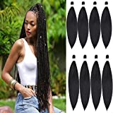 Befunny Pre-stretched Braiding Hair 30 Inch Pre Stretched/Prestretched Extra Long Soft Braiding Hair 8packs/Lot Black Synthetic Crochet Hair For Human Box Braids Yaki Straight Texture,No Itch(30',1B#)