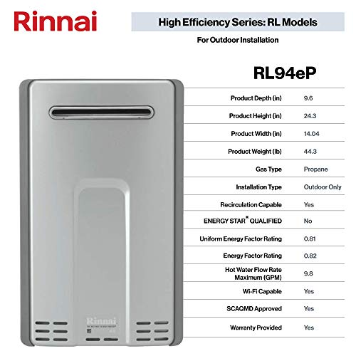 Rinnai Outdoor Tankless Hot Water Heater / RL94eP / Propane / 9.4 GPM