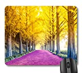 7AN.M Pink Purple Path Through Yellow Trees Forest Autumn Landscape Nature Scene Mouse Pad
