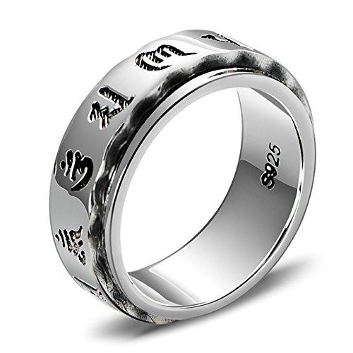 ANAZOZ Ring Herren Sterling Silber Sechs Wörter Sprichwörter Siegelring Bandring Verlobungsringe Biker Herren Modeschmuck Silber 60 (19.1)
