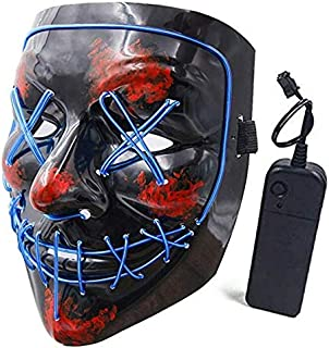 Halloween Mask LED Light up Purge Mask for Festival Cosplay Halloween Costume Masquerade Parties-blue light