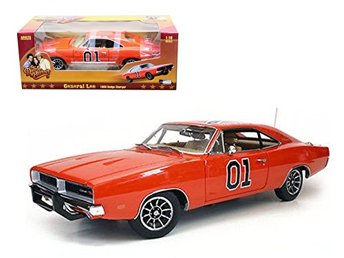 New 1:18 AUTO WORLD COLLECTION - ORANGE COLOR Dukes of Hazzard 1969 DODGE CHARGER GENERAL LEE Diecast Model Car By Auto World