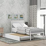 Merax Solid Wood Twin Size Platform Bed with Trundle, Wooden Bed Frame Twin Trundle Bed (White)