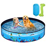 Unomor Foldable Dog Pool - Pet Pool with Pet Brush Chew Toy and Storage Bag - Portable Dog Bathing Tub for Large Small Dogs Kiddie Pool for Kids Toddler Two Large Size (47'' x12'' /63'' x12'')