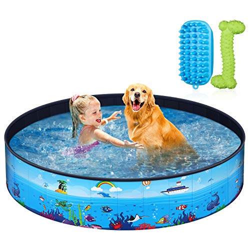 Unomor Foldable Dog Pool - Hard Plastic Pool with Pet Brush Chew Toy and Storage Bag - Portable Pet...