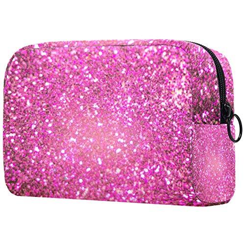 Bolsa de Maquillaje de Viaje portátil,Plata Brillante Decorativa y púrpura como Fondo filtrado Abstracto ,Bolsa de cosméticos para Mujeres,Bolsa organizadora de Maquillaje con Cremallera de Belleza