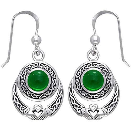 Iumer Round Vintage Celtic Earrings Faux Moonstone Dangle Drop Earring,Green