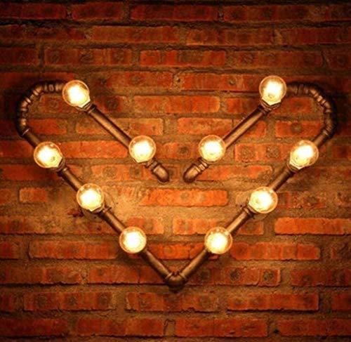 YUMUO Lámpara de pared de estilo industrial de la vendimia Lámpara de pared de tubo de agua Steampunk Creative 10 Flamig Rustic Hierro forjado Lámpara de metal Cuerpo, Café, A