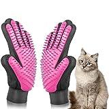 ETHEL Guante de Mascotas, Guantes Manopla Masaje, Guante de Mascotas Quita Pelos, para Perros y Gatos con Pulseras de Velcro Ajustables para un Mejor Ajuste (Rosado)