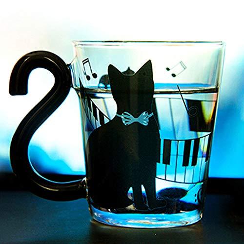 DCPPCPD Simpatico Gatto Gattino Tazza di Vetro Tazza Tazza di tè Tazza di caffè al Latte Puntini Decorazione Home Office Tazza con Manico Meraviglioso Materiale Regalo: Vetro