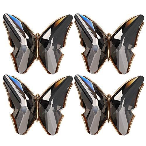 Delaman Hebilla de Zapato, 4 Piezas Hebilla de Zapato Elegante Mariposas de Cristal Apliques Decoración de Bricolaje para Tacones Bolsa de Ropa