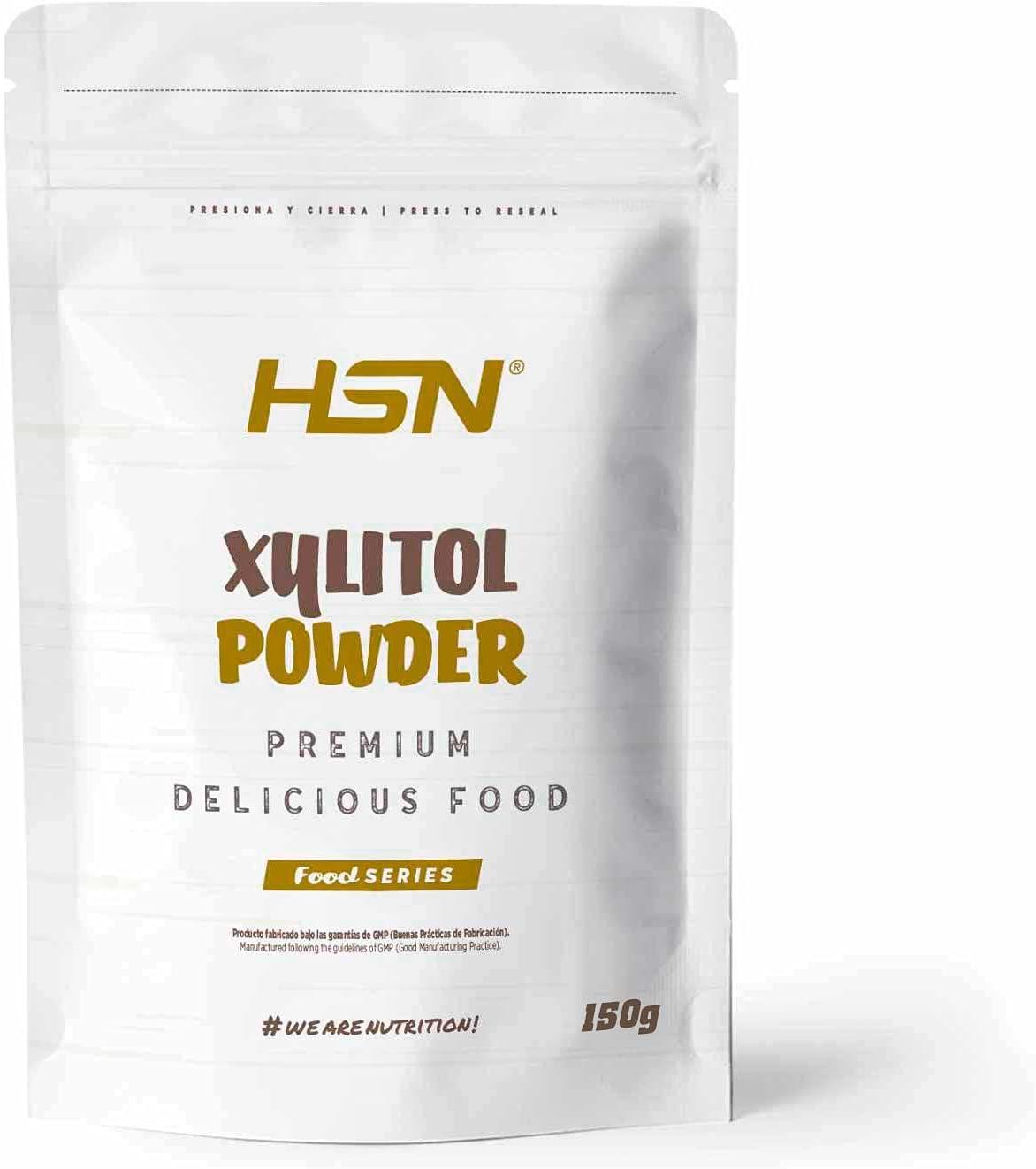 Xilitol de HSN | Edulcorante Natural Sin Calorías | Endulzante para Recetas Fitness | Sustituto del Azúcar | Apto Vegano, Sin Gluten, Sin Lactosa | En Polvo, Sin Sabor | 150g
