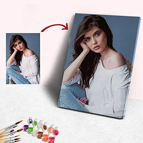 Custom Paint by Numbers for Adults Kids Personalized Photo Oil Painting with Your Own Picture DIY Digital Paint by Numbers Kits for Home Wall Decor