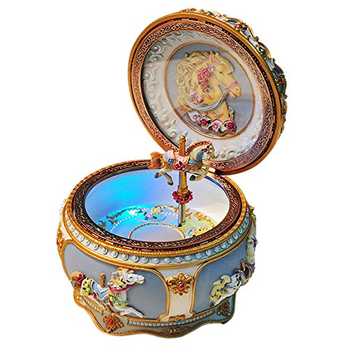 GnD Mechanical Classical Collectible Music Box with Sankyo 18-Note,A Fine Horse Gracefully Twirls along with Music (Tone:Frozen)