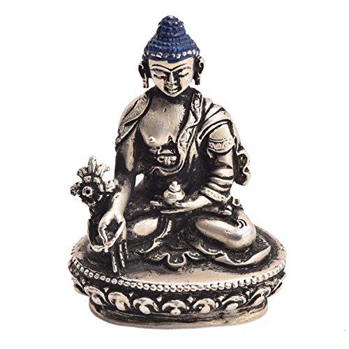 Medicinal Buddha Argento Ottone Idol simboleggia Salute artigianale da Bharat Haat bh05420