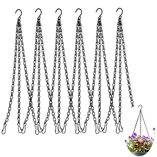 6 Stück Metall Ketten, Blumenampel Kette, Metall Pflanzenhänger Blumentopf Kette für Blumenkorb, Hängende Korb Ketten mit S-Haken für zum Aufhängen Pflanzgefäßen, Blumentöpfe, Vogelkäfig