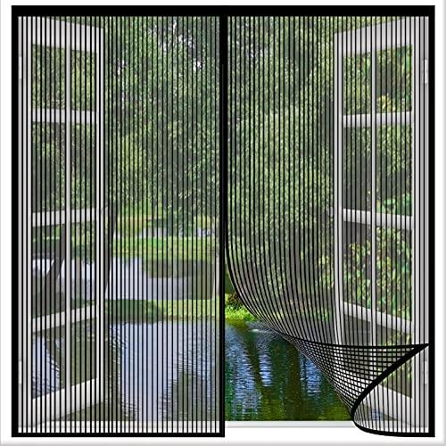 Cortina Mosquitera Magnética 100x125cm(39x49inch) Mosquitera Ventana Mantener Alejado de Mosquitos Cinta Trasera Ultra-Stick para Sala de Estar Balcón Patio Habitación, Negro