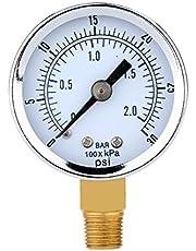 UEETEK Manómetro de Presión para el compresor de aire Agua Gasolina Gas 0-30PSI