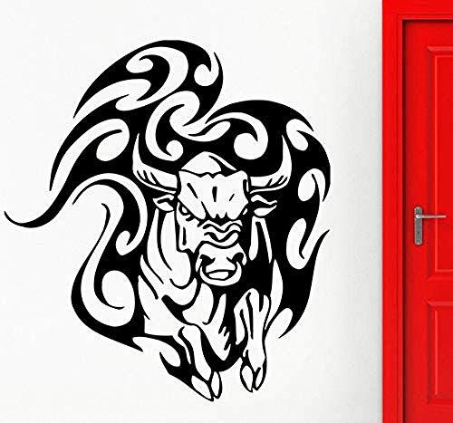 Zykang 3D Adhesivos de pared Toro Adhesivos de pared Tatuaje taurino Animal Tribal Vinyl Decal Angry Cow Wall Home Dormitorio Living Room Decoration 42X47Cm