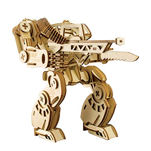 3D Wooden Puzzle DIY Robot Mechanical Armor Model Wood Craft Kit Laser-Cut Kits Engineering Gears Set Assembly Ideal Christmas Birthday Gift for Adult Teens Men Boyfriend Husband