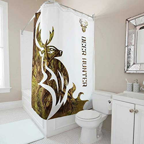 Lind88 Deer Hunter Shower Curtain Patterned Universal Easy Clean Curtains Set - for Dorm Decorate white 200x200cm