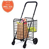 Compact Folding Grocery Shopping Cart - Supenice (SN7502) Double...