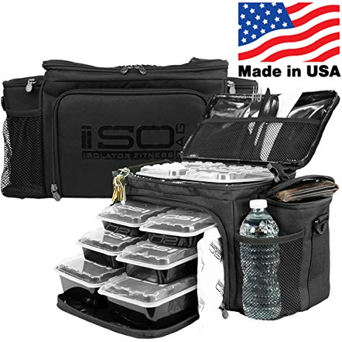 Meal Prep Lunch Box ISOBAG - Large Insulated 6 Meal Prep Bag/Cooler With 12 Containers, 3 Ice Packs & Shoulder Strap (Blackout) - MADE IN USA
