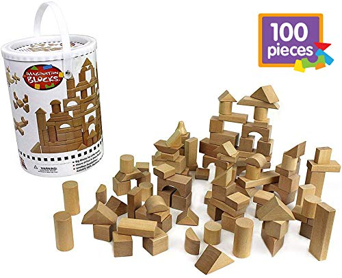 Wooden Blocks  100 Pc Wood Building Block Set with Carrying Bag and Container Natural Colored  100% Real Wood