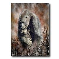 キャンバス絵画モンキーゴリラチンパンジー野生動物ポスターとプリントリビングルームの家の装飾のための壁の芸術の写真-50x70cmフレームなし