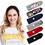 fani 6Pcs Headband with Buttons for Holding, Colorful Solid Color Floal Criss Cross Buttons Hair Band for Ear Protection, Yoga Sport Hair Accessories for Women and Nurse