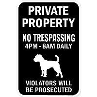 PRIVATE PROPERTY ブラックマグネットサイン:ジャックラッセルテリア シルエット 英語 私有地 無断立入禁止