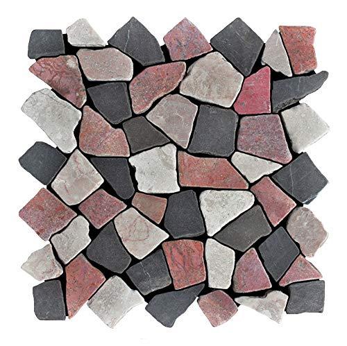 Mosaikfliesen - M-1-015 - 1 m² = 11 Fliesen - Marmor Bruchsteinmosaik Wandfliesen Bodenfliesen - Naturstein Fliesen Lager Verkauf Stein-Mosaik Herne NRW