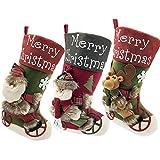 LYLYFAN Medias de Navidad 18 Pulgadas Bolsa de Regalo Juego de 3 Calcetines de Navidad con diseño de Papá Noel, muñeco de Nieve, Reno, 3D de Felpa para decoración de árbol de Navidad