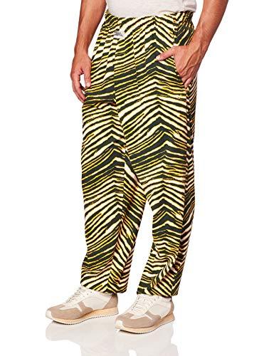 Zubaz Men's Classic Zebra Printed Athletic Lounge Pants, Green/Gold, 2XL